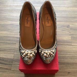 Valentino sequin, pearl & rhinestone pumps